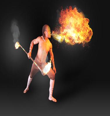 ריקרדו במופע אש וריקוד